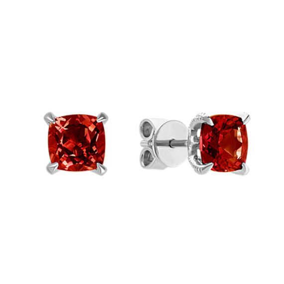 Cushion Cut Red Garnet Earrings