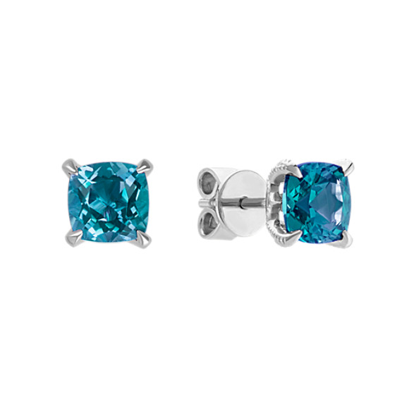 Cushion Cut London Blue Topaz Earrings