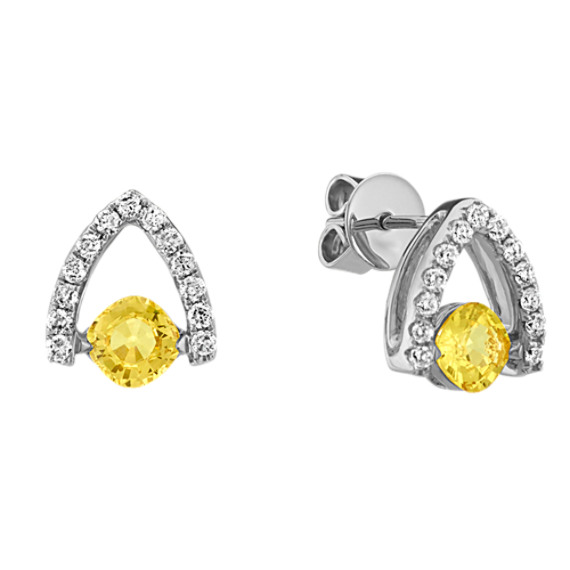 Cushion Cut Yellow Sapphire and Round Diamond Earrings