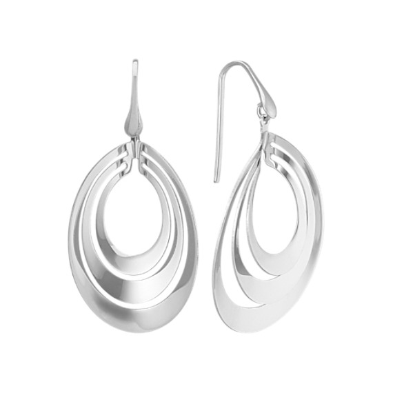 Cutout Oval Dangle Earrings in Sterling Silver