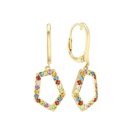 Dangle Geometric Multi-Colored Gemstone Earrings