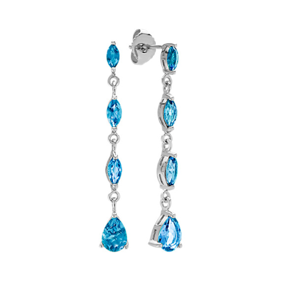 Dangle Marquise and Pear-Shaped London blue Topaz Earrings