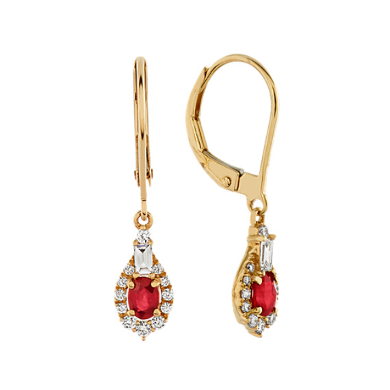 Dangle Ruby and Diamond Earrings