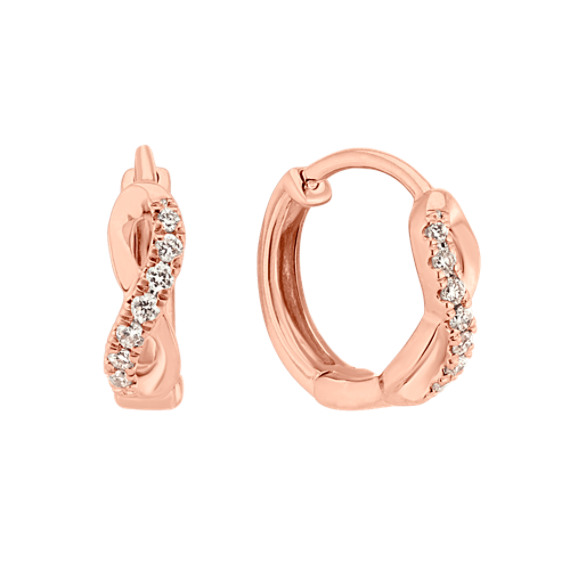 Diamond 14k Rose Gold Hoop Earrings