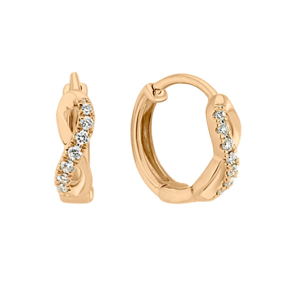 Diamond 14k Yellow Gold Hoop Earrings