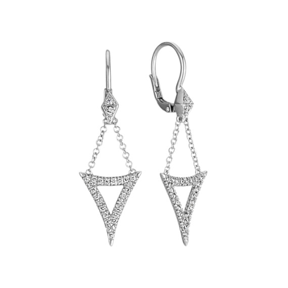 Diamond Abstract Triangle Dangle Leverback Earrings in 14k White Gold