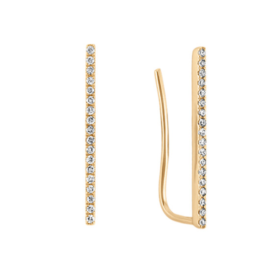 Diamond Bar Ear Climber Earrings in 14k Yellow Gold