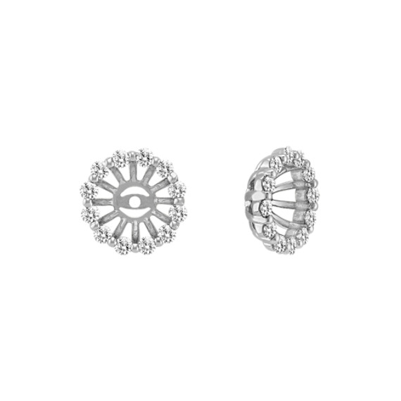 Diamond Basket Earring Jackets in 14k White Gold