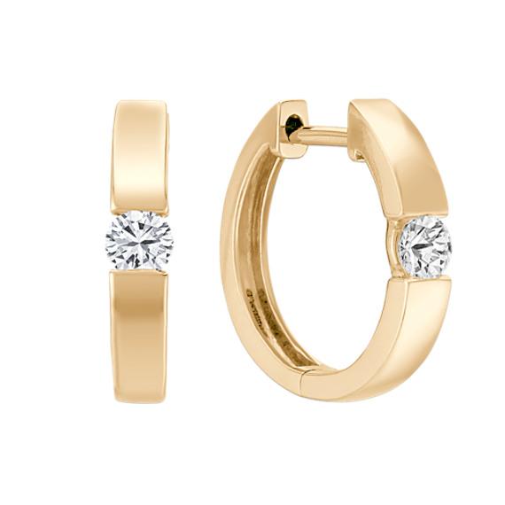 Diamond Channel-Set Hoop Earrings