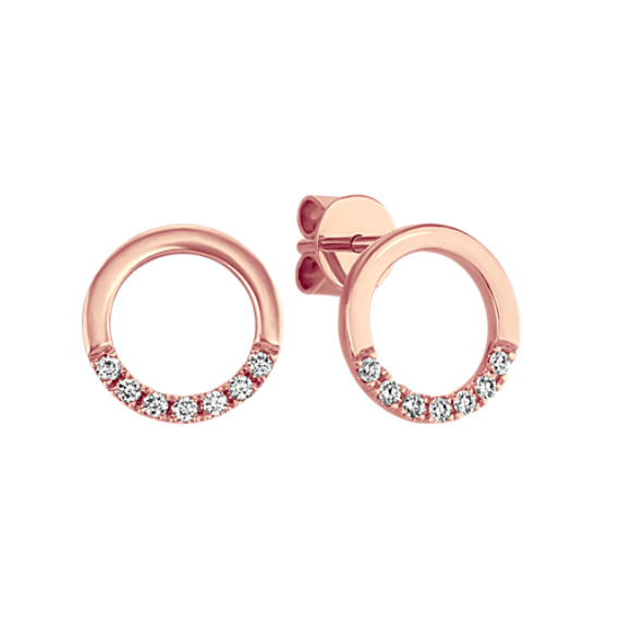 Diamond Circle Earrings in 14k Rose Gold