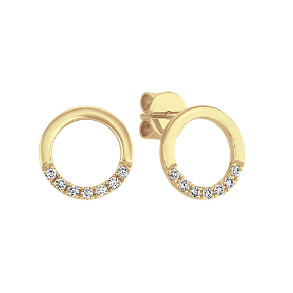 Diamond Circle Earrings in 14k Yellow Gold