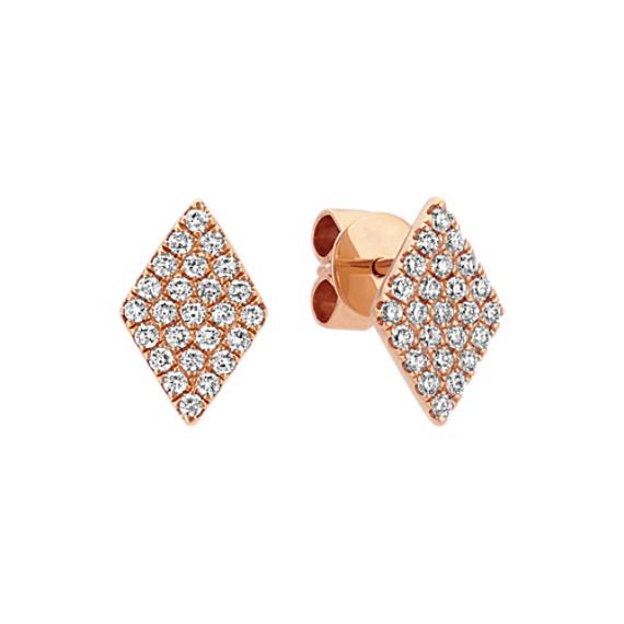Diamond Cluster Earrings in 14k Rose Gold