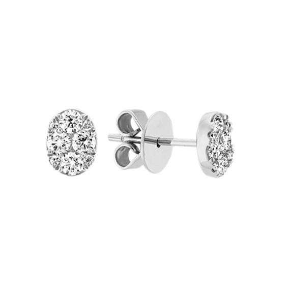 Diamond Cluster Earrings in 14k White Gold