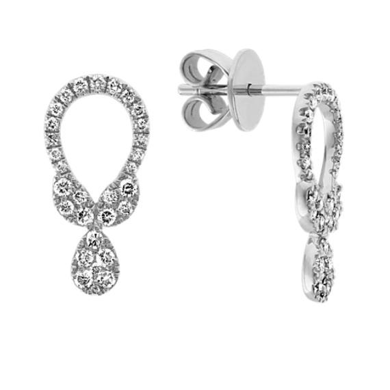 Open Diamond Cluster Earrings in 14k White Gold