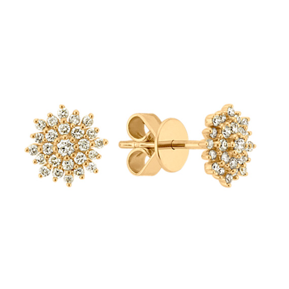 Diamond Cluster Earrings in 14k Yellow Gold
