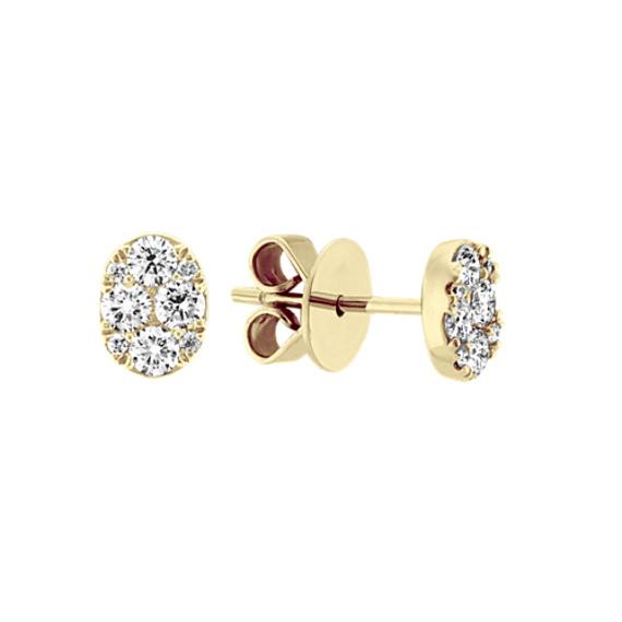 Diamond Cluster Earrings in 14k Yellow Gold