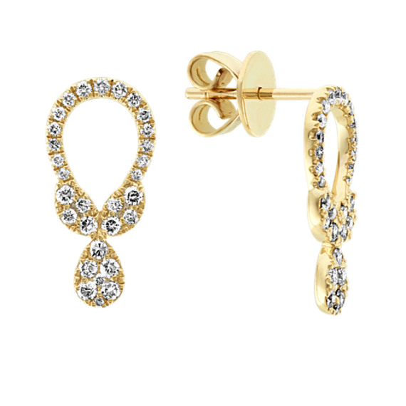 Open Diamond Cluster Earrings in 14k Yellow Gold
