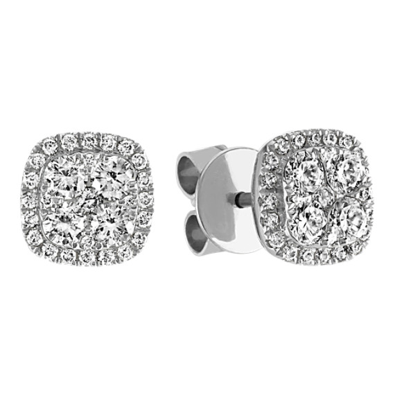 Diamond Cluster Square Earrings