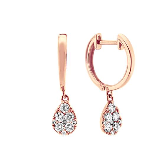 Diamond Dangle Hoops in 14k Rose Gold