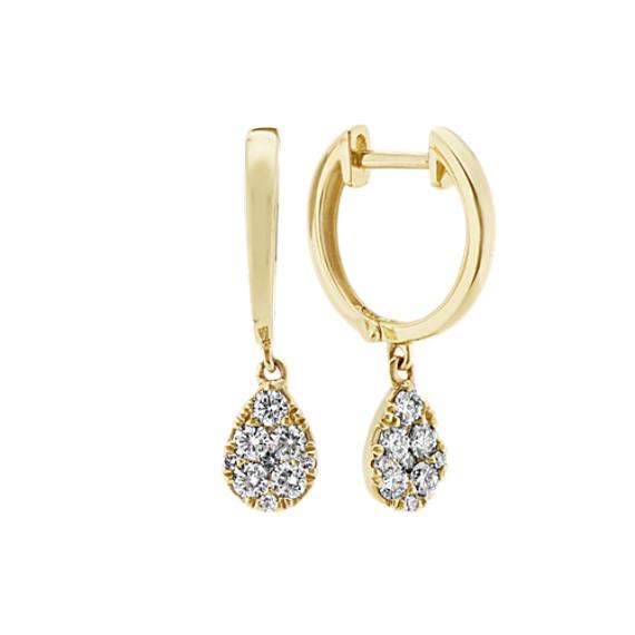 Diamond Dangle Hoops in 14k Yellow Gold