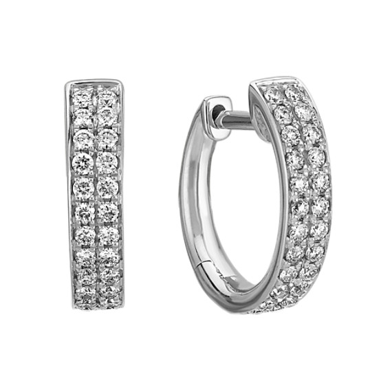 Diamond Double Row Hoop Earrings with Pave-Setting