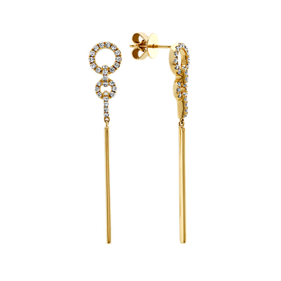 Diamond Drop Earrings in 14k Yellow Gold