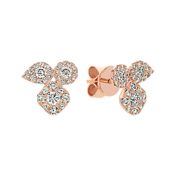 Diamond Earrings in 14k Rose Gold