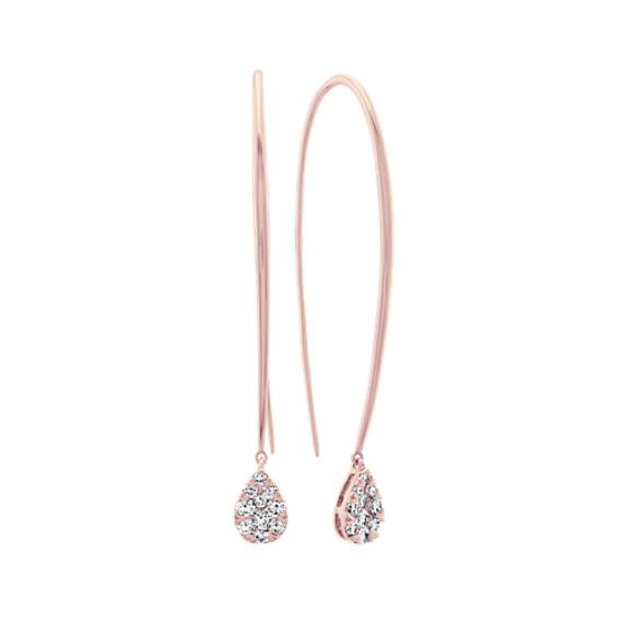 Diamond Fish Hook Earrings in 14k Rose Gold