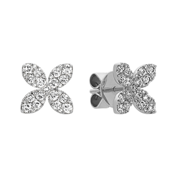 Diamond Flower Earrings in 14k White Gold