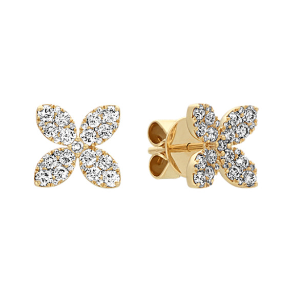 Diamond Flower Earrings in 14k Yellow Gold