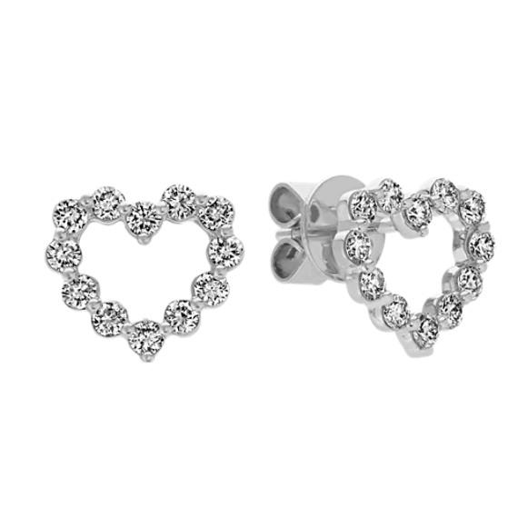 Diamond Heart Earrings in White Gold