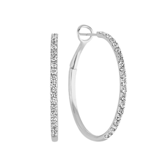 Diamond Hoop Earring in 14k White Gold