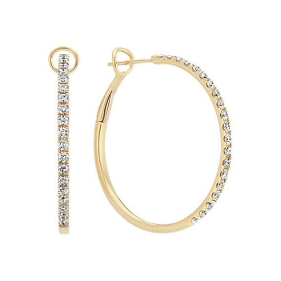 Diamond Hoop Earring in 14k Yellow Gold