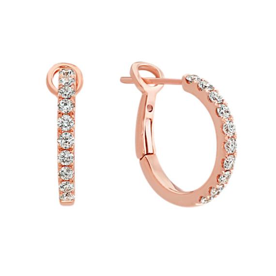 Diamond Hoop Earrings in 14k Rose Gold