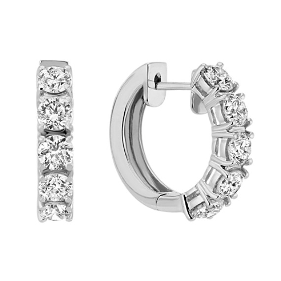 4 480 Diamond Hoop Earrings In 14k White Gold