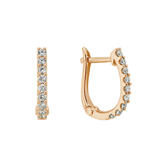 Diamond Hoop Earrings in 14k Yellow Gold