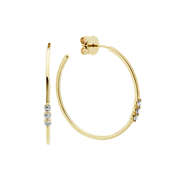 Hoop Earrings with Diamond Accent