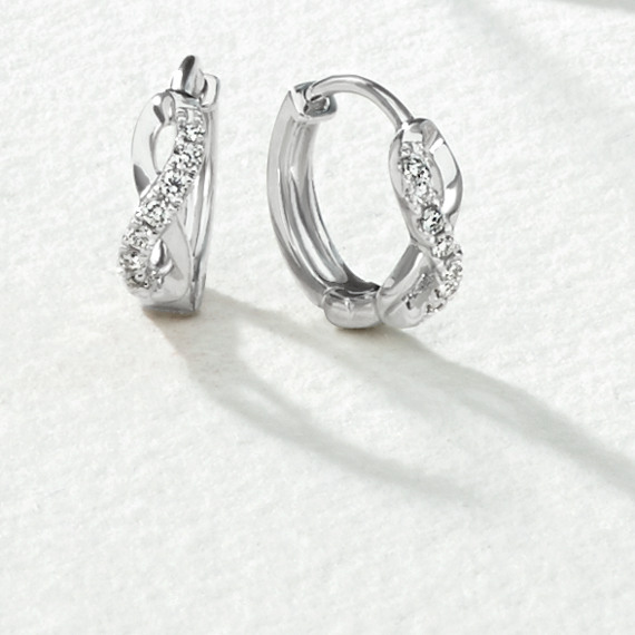 Diamond Infinity 14k White Gold Hoop Earrings image