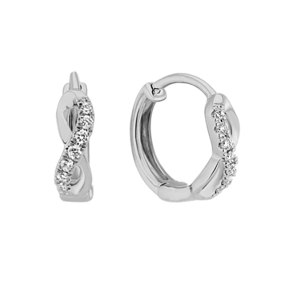 Diamond Infinity 14k White Gold Hoop Earrings