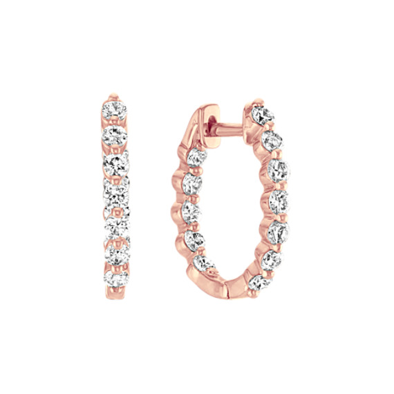 Diamond Inside-Out Hoop Earrings in 14k Rose Gold