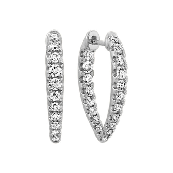 Diamond Inside-Out Hoop Earrings in 14k White Gold