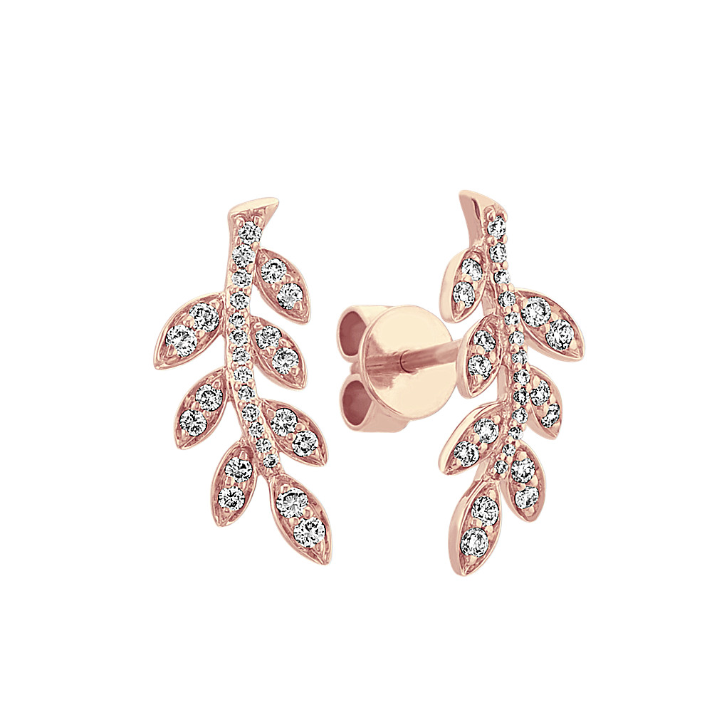 d658c00b3ee23 Diamond Leaf Earrings in 14k Rose Gold