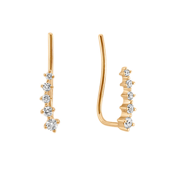 Diamond Lined Ear Climber Earrings in Yellow Gold