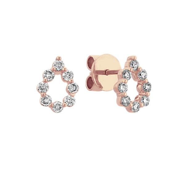 Diamond Teardrop Earrings in 14k Rose Gold