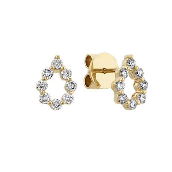 Diamond Teardrop Earrings in 14k Yellow Gold