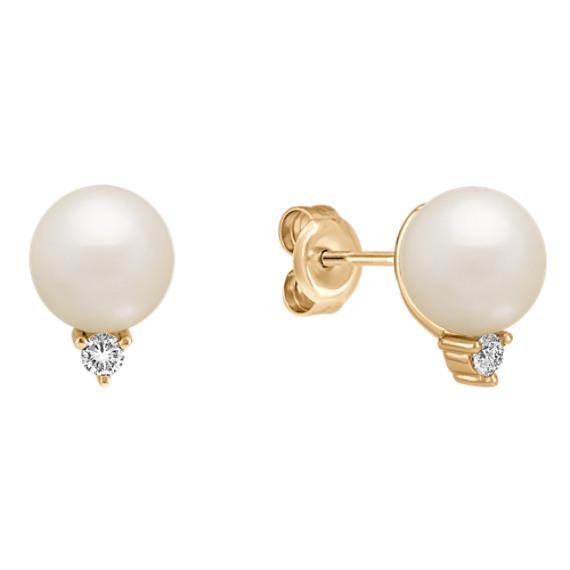 Diamond and 7.5mm Cultured Akoya Pearl Earrings