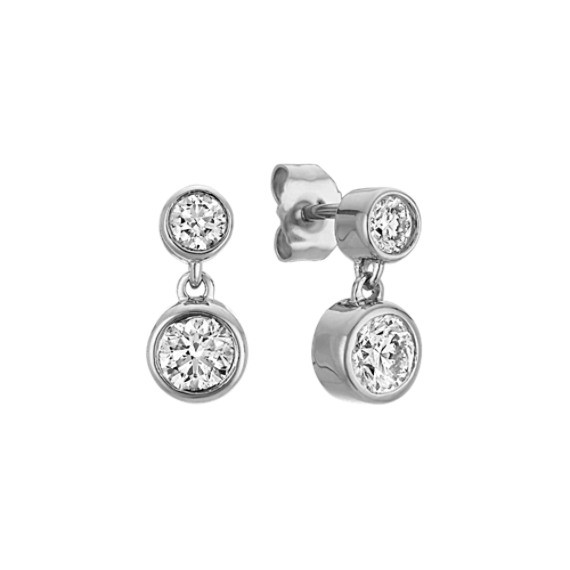 Double Bezel Set Diamond Earrings In 14k White Gold