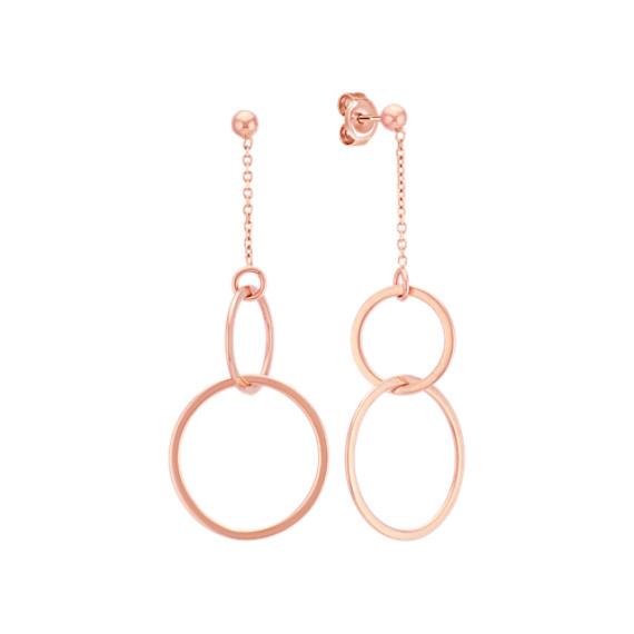 Double Circle Dangle Earrings in 14k Rose Gold