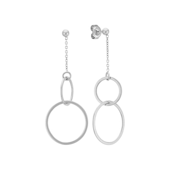 Double Circle Dangle Earrings in 14k White Gold