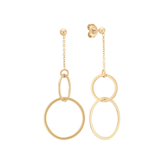 Double Circle Dangle Earrings In 14k Yellow Gold